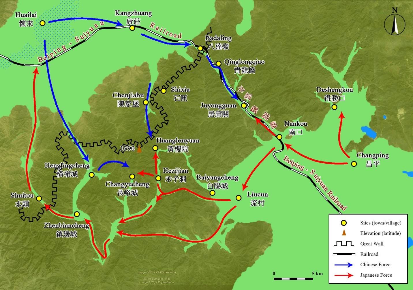 Operation chahar part 1 china in ww2 2 the main battlefield of the nankou campaign showing the movement of the armies and locations of critical sites gumiabroncs