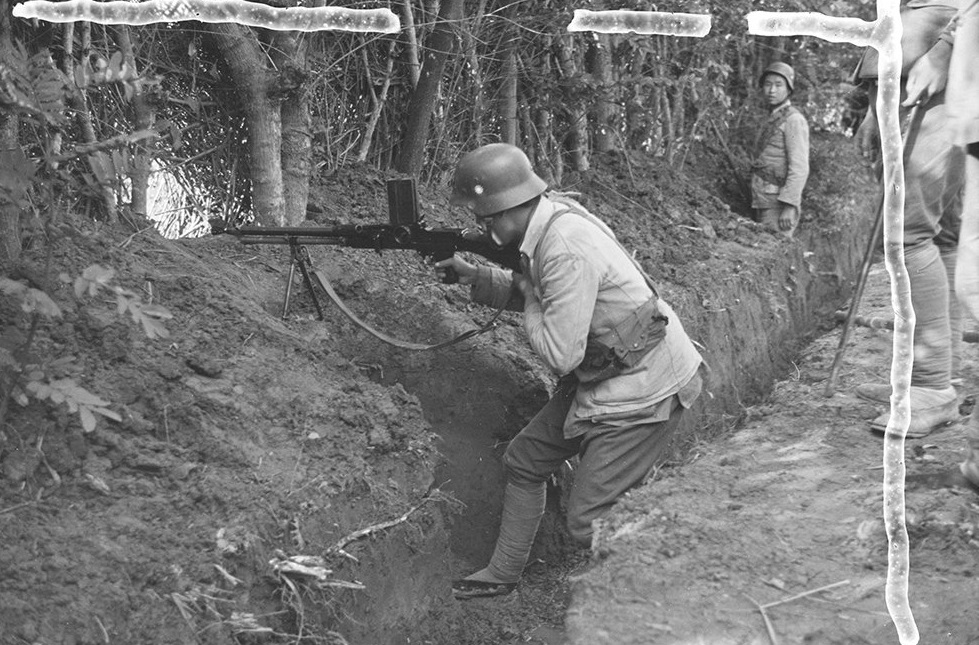 Nationalist soldiers in trench, with machine gun