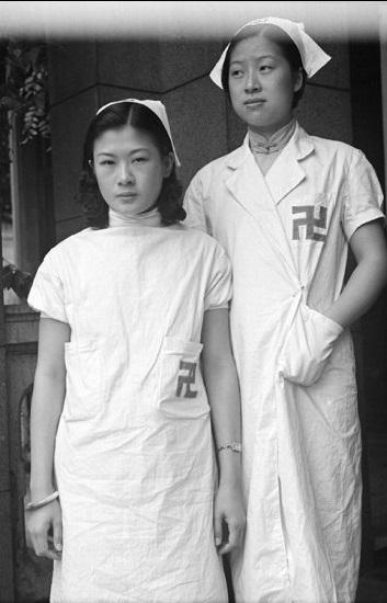 Two Red Swastika Society nurses, Shanghai