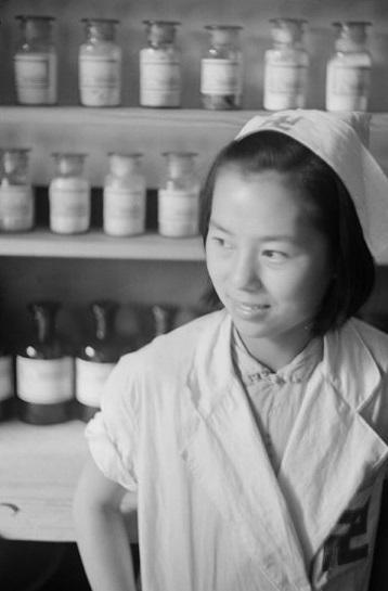 Nurse in hospital pharmacy, Shanghai