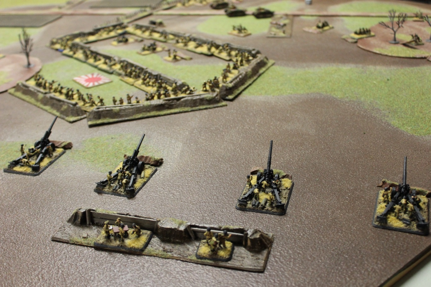 The heavy artillery finds the IJA infantry close together in the open as day breaks.